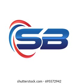 initial letter logo swoosh red blue