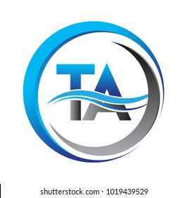 initial letter logo TA company name blue and grey color on circle and swoosh design. vector logotype for business and company identity.