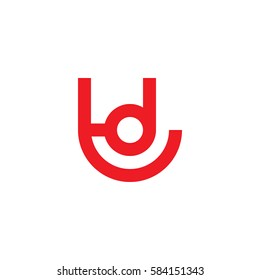 initial letter logo td, dt, d inside t rounded lowercase red flat