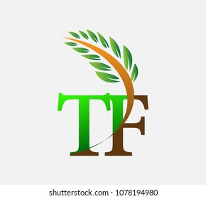 initial letter logo TF, Agriculture wheat Logo Template vector icon design colored green and brown.