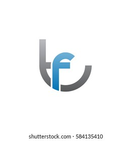 initial letter logo tf, ft, f inside t rounded lowercase blue gray