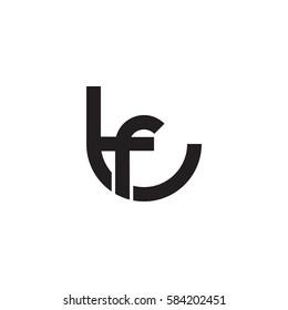 initial letter logo tf, ft, f inside t rounded lowercase black monogram