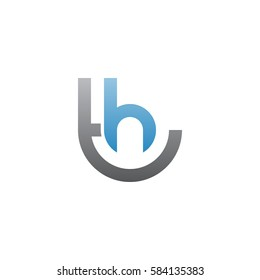 initial letter logo th, ht, h inside t rounded lowercase blue gray