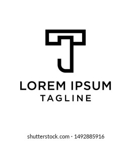initial letter logo TJ, JT, logo template