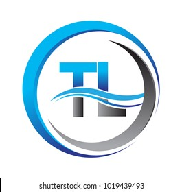 initial letter logo TL company name blue and grey color on circle and swoosh design. vector logotype for business and company identity.