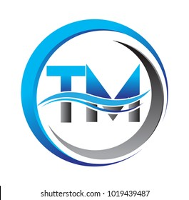 initial letter logo TM company name blue and grey color on circle and swoosh design. vector logotype for business and company identity.