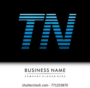 initial letter logo TN colored blue with striped compotition, Vector logo design template elements for your business or company identity