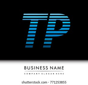 initial letter logo TP colored blue with striped compotition, Vector logo design template elements for your business or company identity