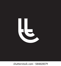 initial letter logo tt, t inside t rounded lowercase white black background