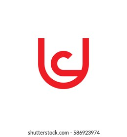 initial letter logo uc, cu, c inside u rounded lowercase red flat