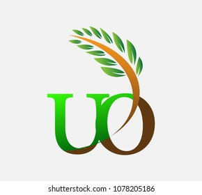 initial letter logo UO, Agriculture wheat Logo Template vector icon design colored green and brown.