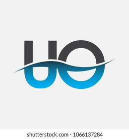 Initial letter logo UO company name blue and black color swoosh design. vector logotype for business and company identity.