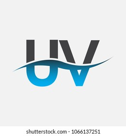 Initial letter logo UV company name blue and black color swoosh design. vector logotype for business and company identity.