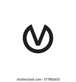 initial letter logo v inside circle shape, ov, vo, v inside o rounded lowercase black monogram