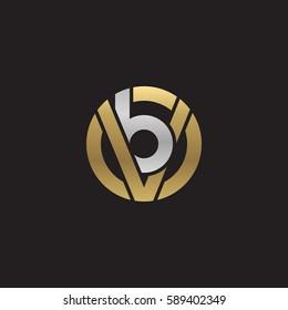 initial letter logo vb, bv, b inside v rounded lowercase logo gold silver