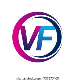 initial letter logo VF company name blue and magenta color on circle and swoosh design. vector logotype for business and company identity.