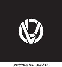 initial letter logo vl, lv, l inside v rounded lowercase white black background