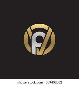 initial letter logo vp, pv, p inside v rounded lowercase logo gold silver