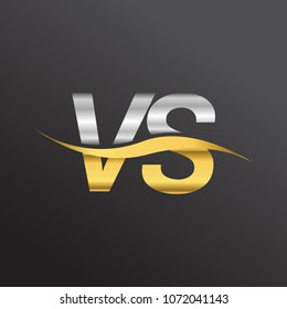 initial letter logo VS company name gold and silver color swoosh design. vector logotype for business and company identity.