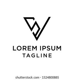 initial letter logo VS, SV logo template