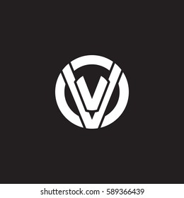 initial letter logo vv, v inside v rounded lowercase white black background