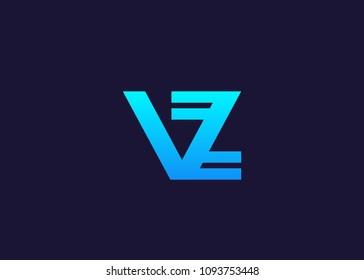initial letter logo VZ, ZV, logo template