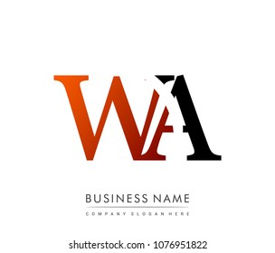 initial letter logo WA colored red and black, Vector logo design template elements for your business or company identity