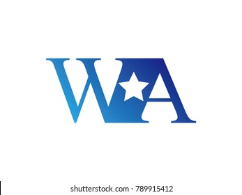 Initial letter logo WA uppercase blue template with star