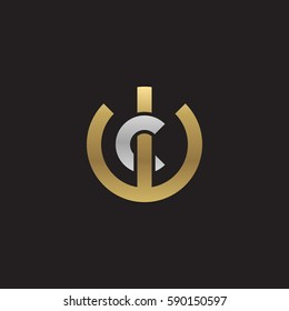 initial letter logo wc, cw, c inside w rounded lowercase logo gold silver