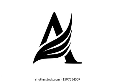 Initial letter A logo and wings symbol. Wings design element,  initial Letter A logo Icon, Initial Logo Template