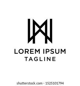 initial letter logo WM, MW logo template