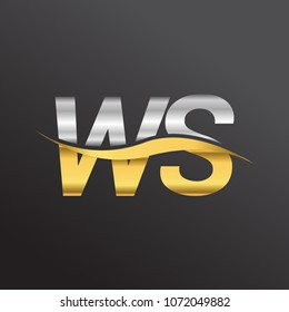 initial letter logo WS company name gold and silver color swoosh design. vector logotype for business and company identity.
