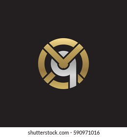 initial letter logo xq, qx, q inside x rounded lowercase logo gold silver