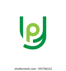 initial letter logo yp, py, p inside y rounded lowercase green flat