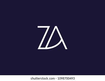 initial letter logo ZA, logo template