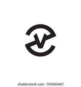 initial letter logo zv, vz, v inside z rounded lowercase black monogram