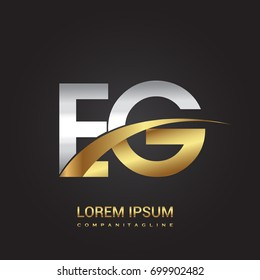 initial letter EG logotype company name colored gold and silver swoosh design. isolated on black background.