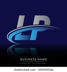 initial letter LP logotype company name colored blue and grey swoosh design. vector logo for business and company identity.