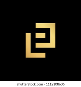 Initial letter LP PL minimalist art  logo, gold color on black background
