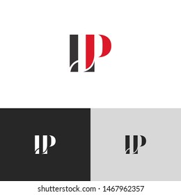 Initial Letter lp uppercase modern logo design template elements. red letter Isolated on black white grey background. Suitable for business, consulting group company.