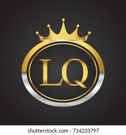 initial letter LQ logotype company name with oval shape and crown, gold and silver color. vector logo for business and company identity.