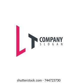 Initial Letter LT Linked Triangle Design Logo