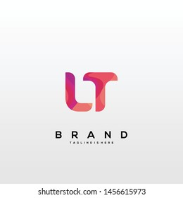 Initial letter LT logo with colorful background, letter combination logo design for creative industry, web, business and company. - Vector