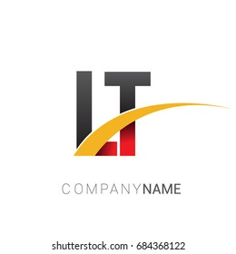initial letter LT logotype company name colored red, black and yellow swoosh design. isolated on white background.