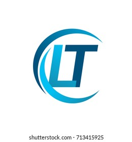 initial letter LT logotype company name blue circle and swoosh design. vector logo for business and company identity.