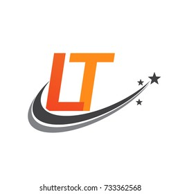 initial letter LT logotype company name colored orange and grey swoosh star design. vector logo for business and company identity.