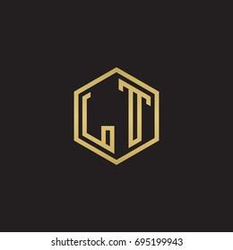 Initial letter LT, minimalist line art hexagon logo, gold color on black background
