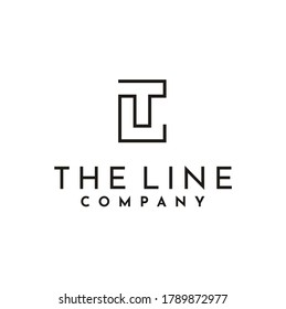 Initial Letter LT T L TL monogram logo design with simple rectangle line style