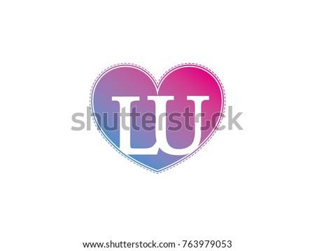 Initial Letter Lu Heart Symbol Logo Stock Vector Royalty Free