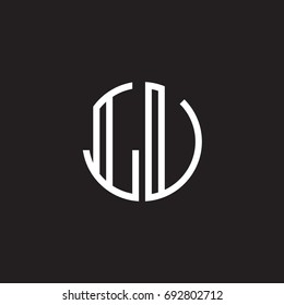 Initial letter LU, LV, minimalist line art monogram circle shape logo, white color on black background